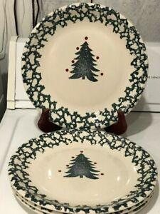 Set-of-4-Winter-Wonderland-by-Tienshan-Plates-10-3-8-034-Spongewear-Green