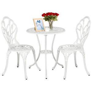 Details zu Gartenmöbel Set Bistro Set Aluminium Veranda Balkon Tisch & 2  Stühle Weiß
