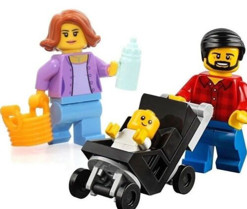 LEGO City MiniFigure family set Mom Dad /& Baby in Stroller 60134 bottle basket