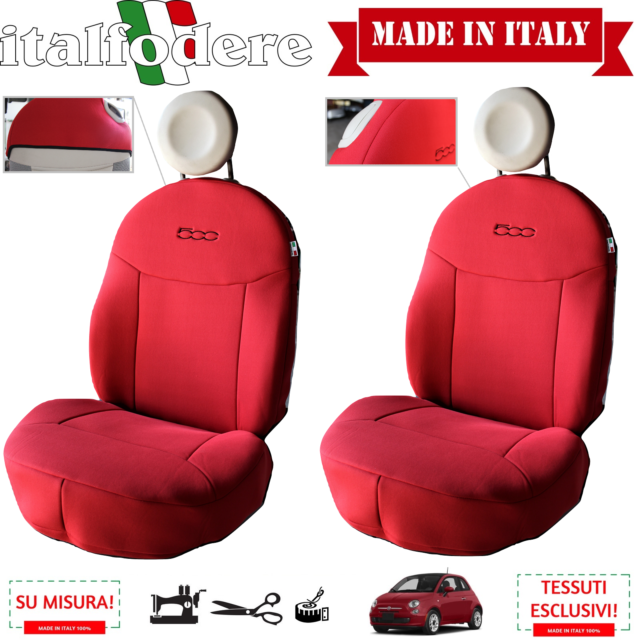 Fiat 500L Car Front Seat Protectors Covers Water Resistant Cover Red Black Pair