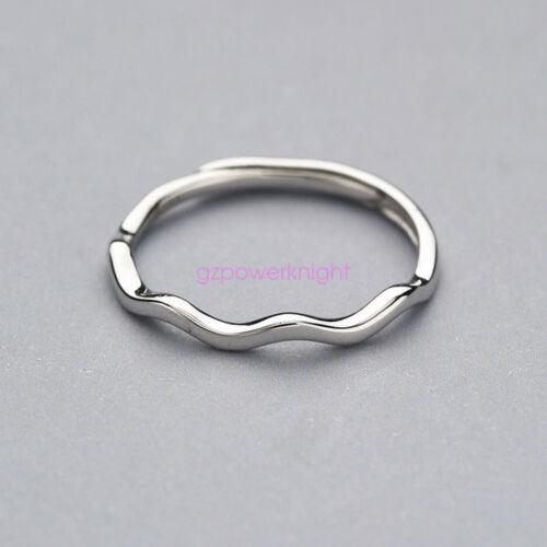 925 solide Argent sterling réglable Open Band Finger Ring Femmes Déclaration Wave