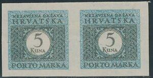 KROATIEN-1942-Porto-5-K-postfr-Kab-Paar-ABARTEN-ungezaehnt-links-u-rechts