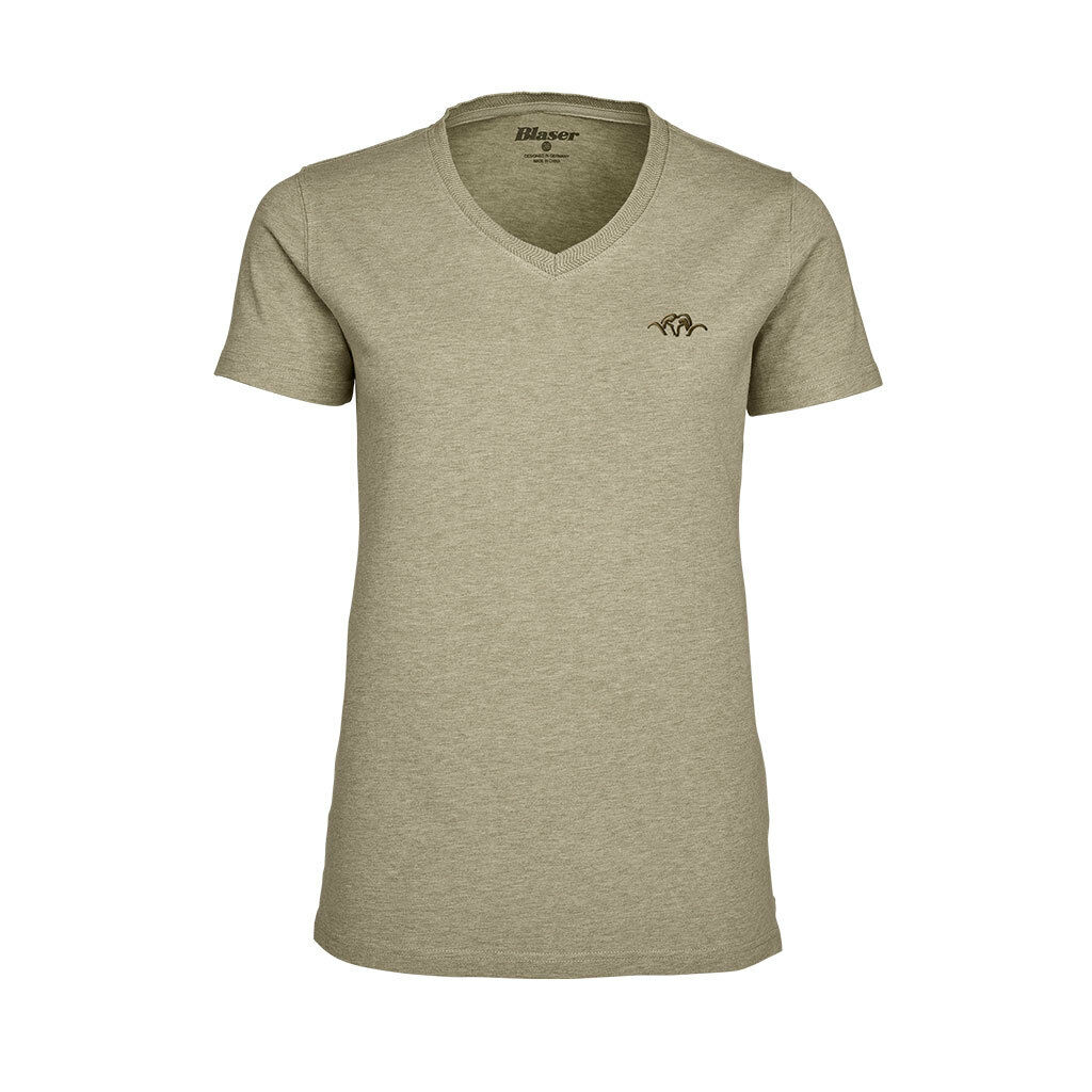 FUCILI TIRO T-shirt donna collo a V beige beige beige melange (118020-006 243) cd466a