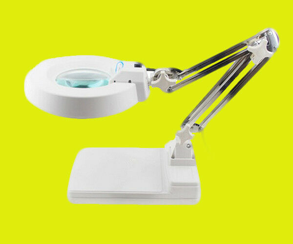 New 10X Loupes Glass Lens Diopter Desk Table Lighting LED Magnifier Lamp Light