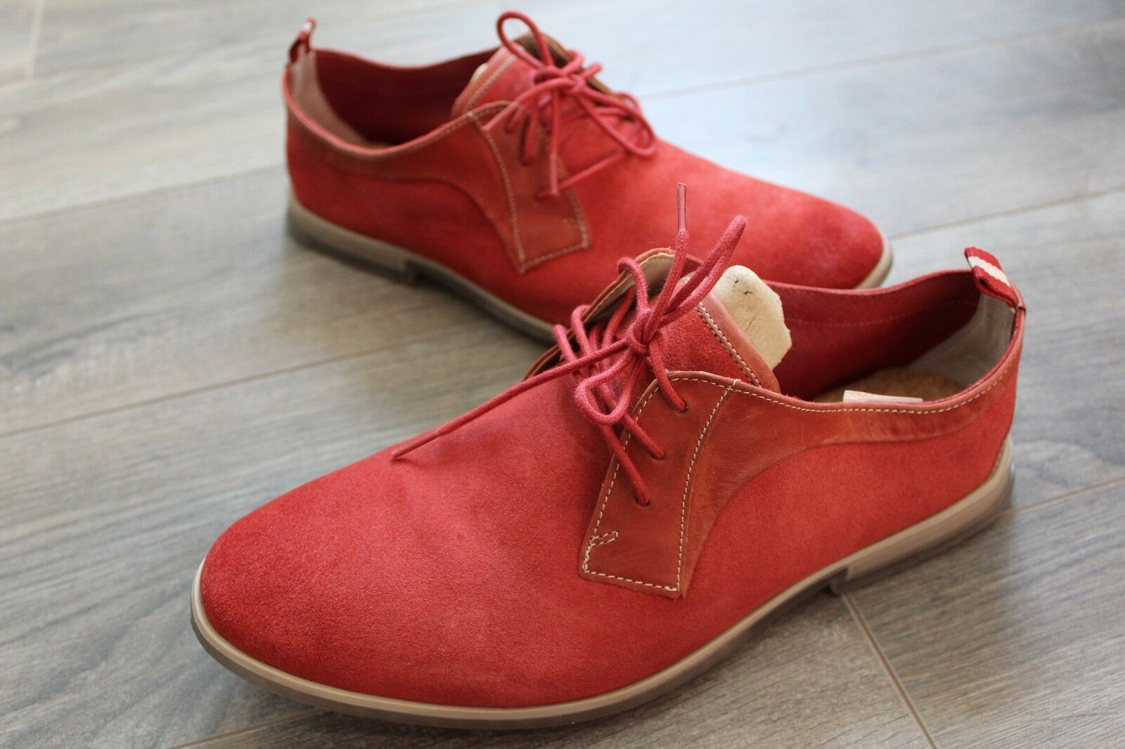 Men's Clarks Frewick Lace Brick Red Suede Casual shoes Size 8