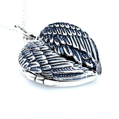 Photo Locket Pendant Solid 925 Sterling Silver Angel Wings Heart Necklace Gifts