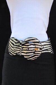 Damas Elástico Cinturilla Cinturón Leopardo Cebra Estampado Plateado Negro XS S