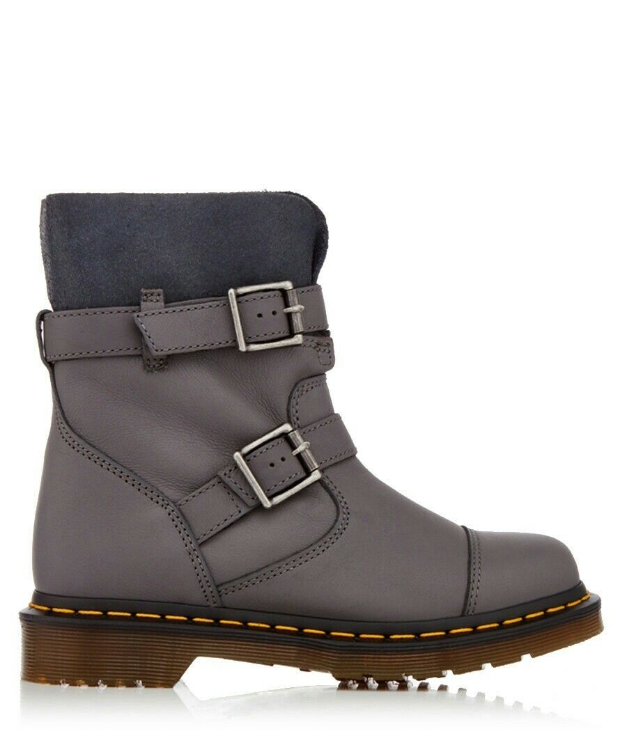 DR. DR. DR. MARTENS KRISTY  GREY LEATHER WOMEN Stiefel SISE 9 UK cae444