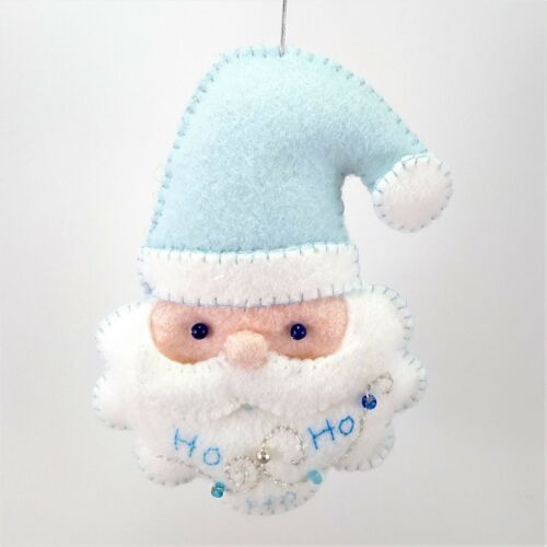 Christmas Santa Ornament  Holiday Felt Embroidery Kit in Silver and Blues