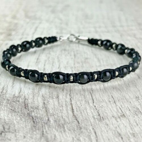 Bracelet Homme Femme Macramé  Obsidienne perles Lithothérapie