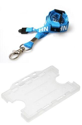 NHS Triple Breakaway Lanyard Metal Lobster Clip with ID Double Card Holder