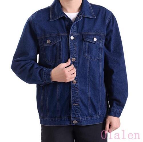 Spring Rétro Hommes Cowboy Veste à boutonnage simple Veste en jean manteau d/'extérieur