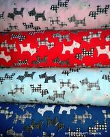 Scottie Dogs Fabric - Scottish Terrier - Polycotton - Westies Red Blue Pink