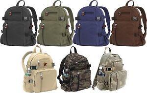 Vintage-Canvas-Backpack-Knapsack-School-Work-Travel-Bag-Pack-Mini-or-Jumbo