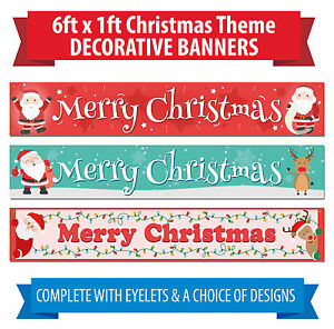 Christmas Banners.Details About Christmas Banners 6 X 1 Ft Indoor Outdoor Use Happy Xmas Banner Santa