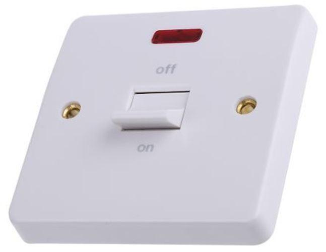 white 32 A Flush Support Bascule Interrupteur Lumière Mk 7 mm Vissé Semi-Lustré,