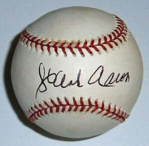 BRAVES Hank Aaron signed NL baseball JSA LOA AUTO Autographed Milwaukee w/ case