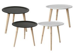 Retro Beistelltisch Rund 4 Grossen Holz Tisch Couchtisch