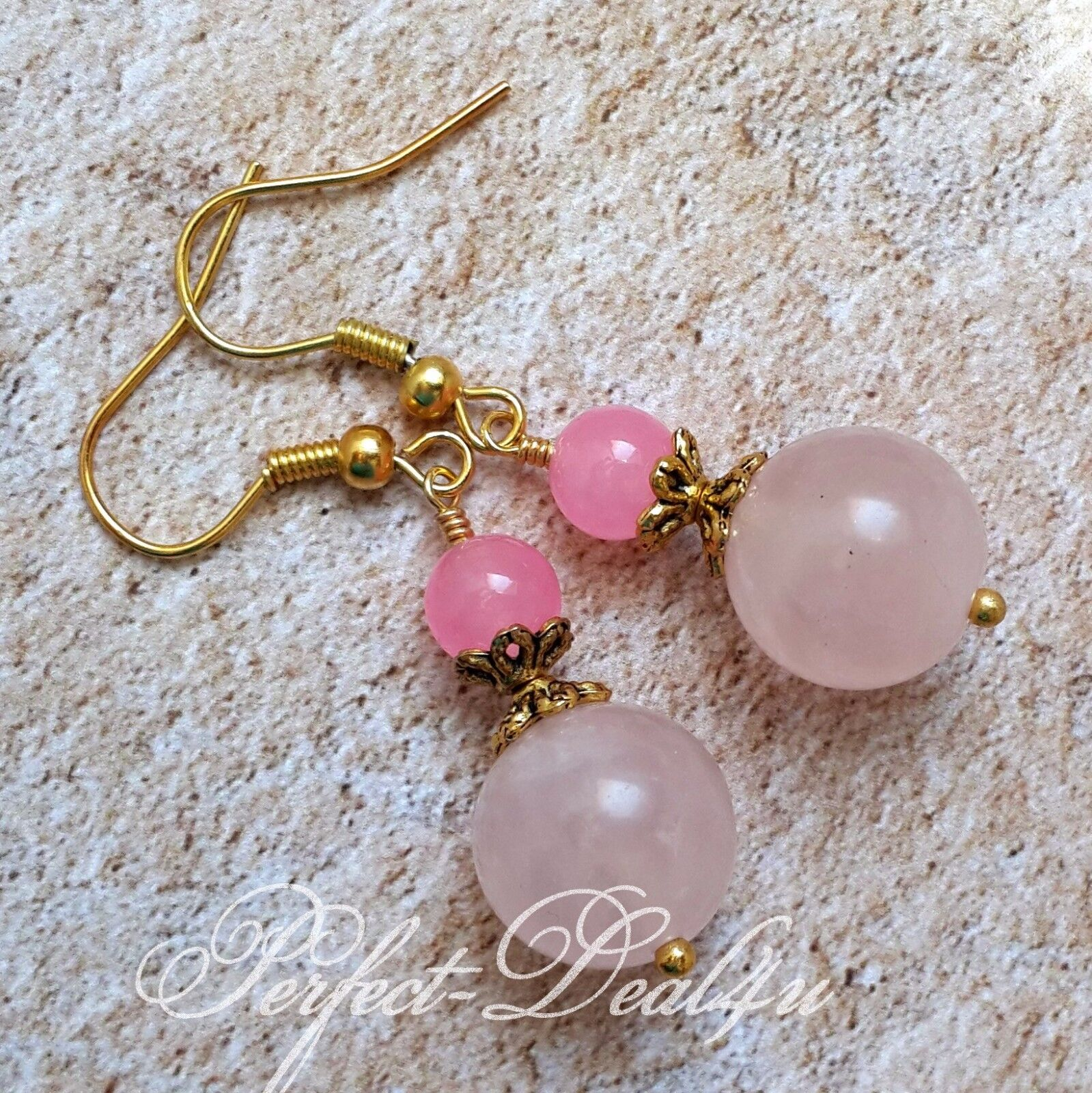 New. A pair of hand made long dangly pink  jade bead  leverback hook  earrings