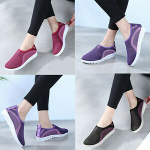 Walking-Women-039-s-Mesh-Flat-With-Cotton-Casual-Stripe-Sneakers-Loafers-Soft-Shoes