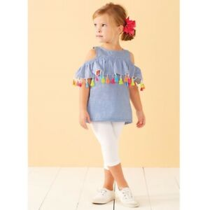 Mud Pie E8 Fun In The Sun Baby Toddler Girl Chambray Tassel Top 1152121 Choose