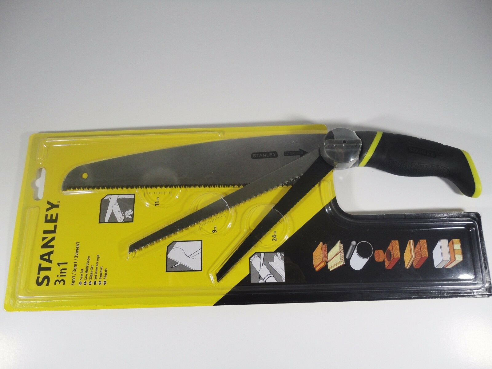 Original Stanley 3 in 1 Saw Blade Set Multi Purpose Hand Tools Saw Metal Cutting
