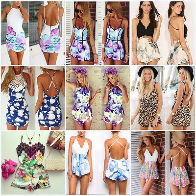 Charm Sexy Women Celeb Floral Print Playsuit Summer Ladies Dress Jumpsuit Shorts