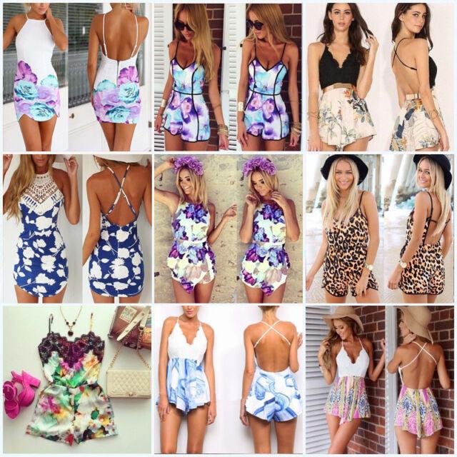 Charm Sexy Women Celeb Floral Print Playsuit Summer Ladies Dress Jumpsuit Shorts