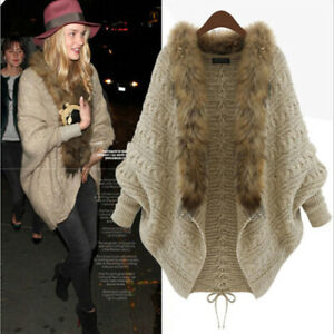 Ladies-Batwing-Sleeve-Loose-Fur-Collar-Sweater-Knit-Cardigan-Outwear-Jacket-Coat