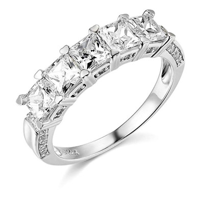 2.50 Ct Princess Cut Real 14k White Gold 5-Stone Wedding Anniversary Band Ring