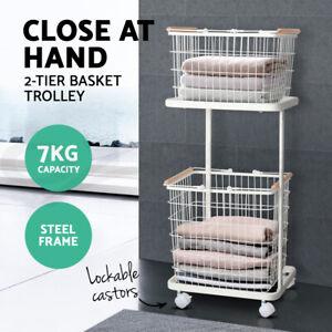 Laundry Basket Hamper Clothes Storage Shelves Metal Rack Shelf Trolley Organiser