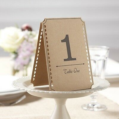 VINTAGE STYLE BROWN KRAFT TABLE NUMBERS 1 to 24 Wedding Place Card Tent