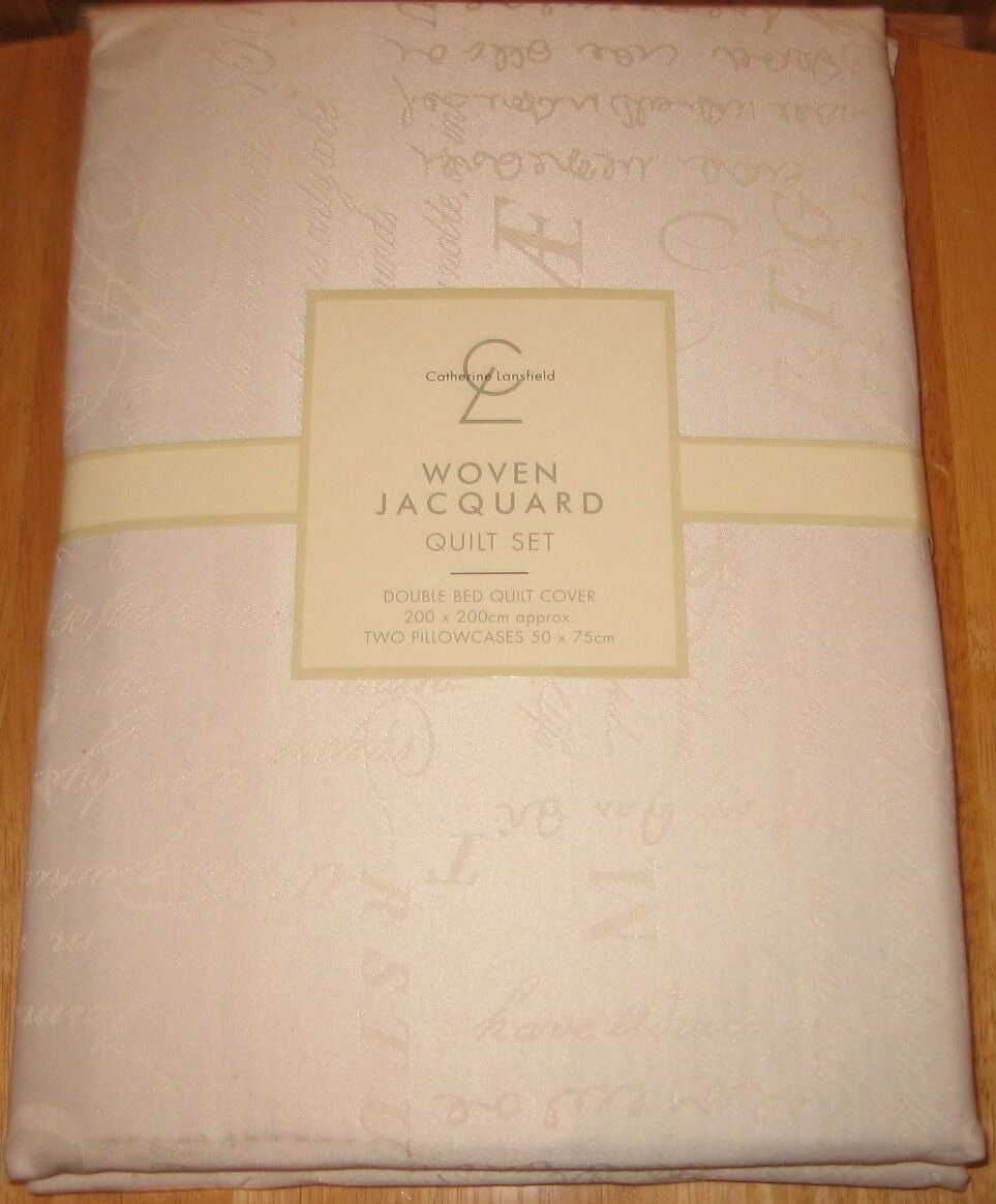 BNWT- Catherine Lansfield - DOUBLE - Woven Jacquard Bed Linen -50%cotton 50%poly