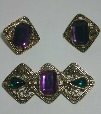 Purple and Black Stone and Cabochon Teardrop Brooch with Matching Rhinestone Clip Earrings