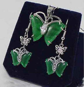 HOT-AAA-NEW-JEWELRY-GREEN-JADE-PENDANT-NECKLACE-EARRING-SET-17-034