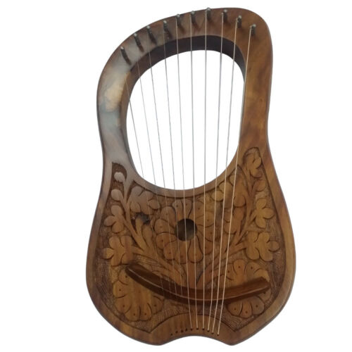 Lyre Harp 10 Strings Hand Engraved Flowers Beautiful Product & Sound Top Quality