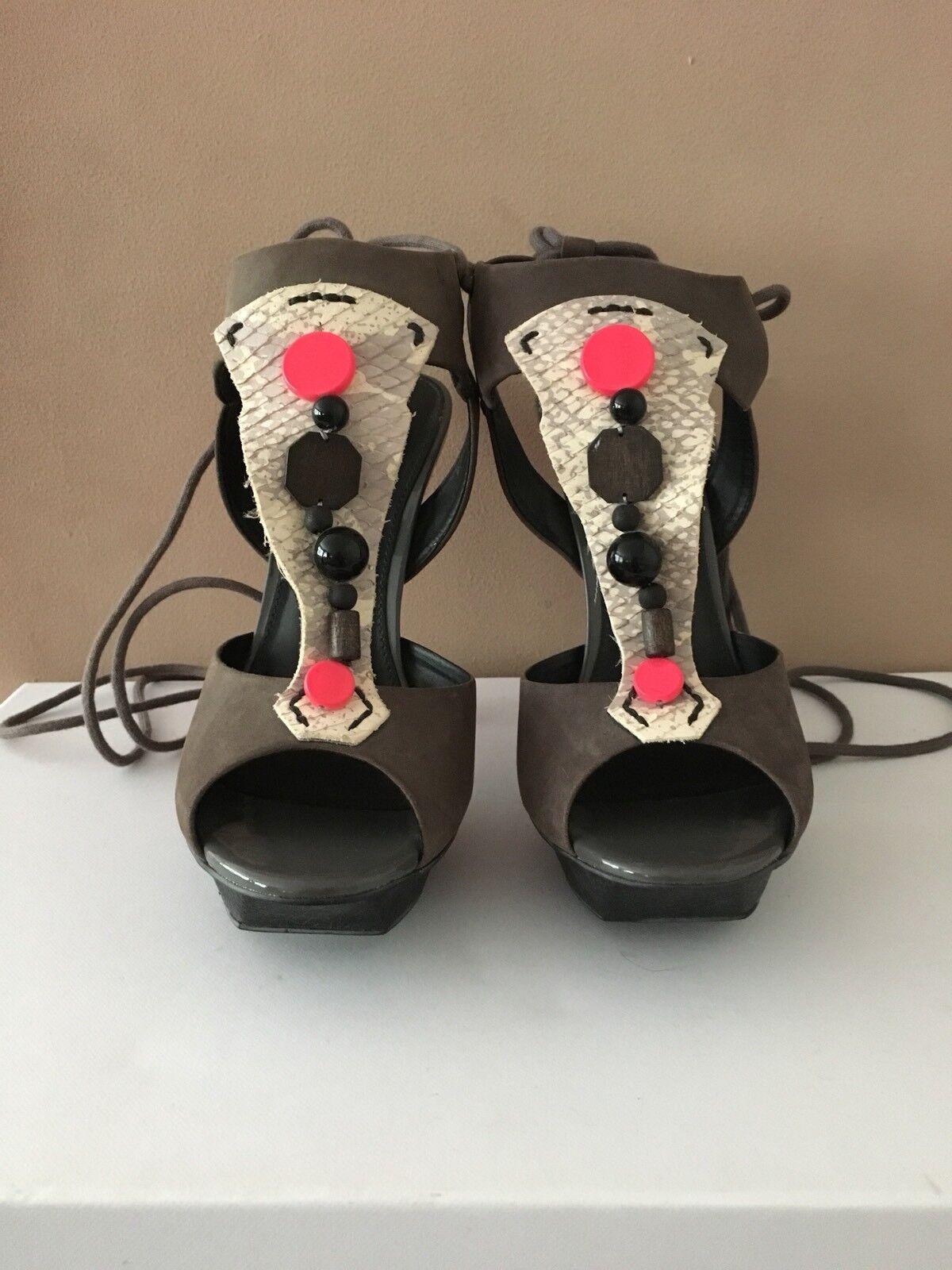 Carvela Donna Scarpe Grigio/Multi nuovo con scatola prezzo consigliato cinturino  Taglia 39/6 con cinturino consigliato cravatta in giro gamba b1311e