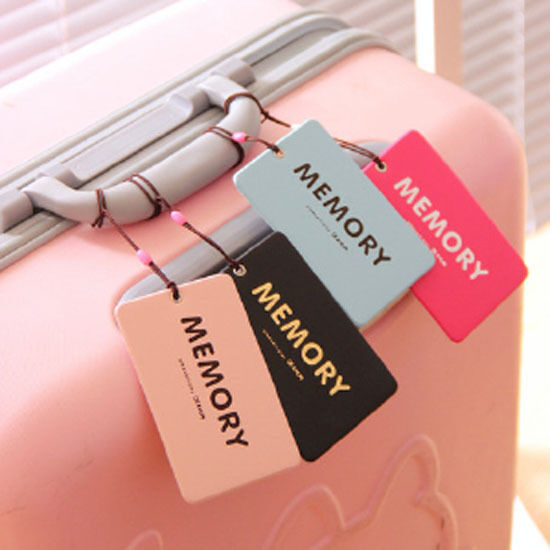 Random Color Fashion Suitcase Luggage Tags Labels Baggage Address Card Case 1PC