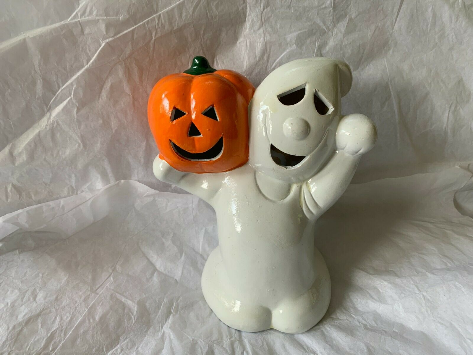 Vintage Earthenware Tealight Candle Holder Halloween Ghost With Pumpkin For Sale Online Ebay