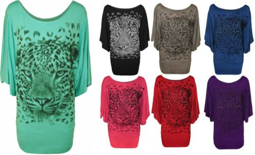 12-28 Women/'s Plus Size Tigre Stampa Glitter Donna Batwing manica T-shirt girocollo