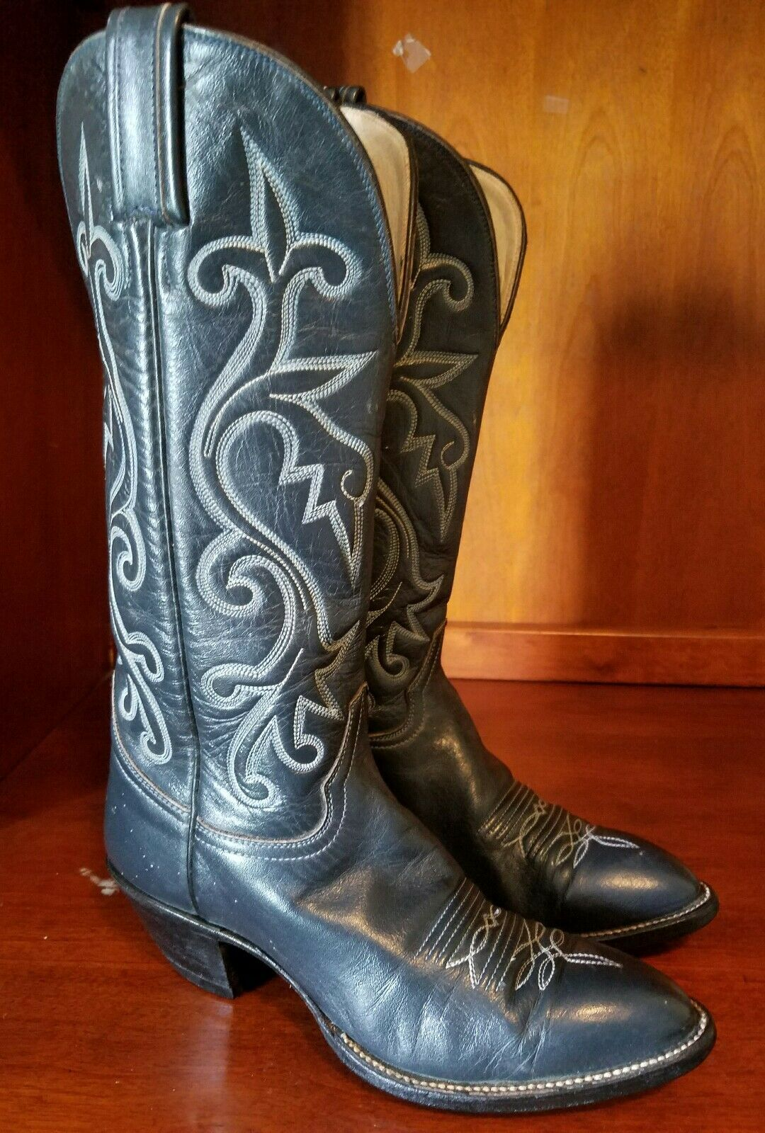 Women Hondo Boots Dark Gray Calf Skin Tall Cowgirl Boots Size 6 B