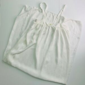 Mary-McFadden-Nightgown-Size-Small-Vintage-Long-White-on-White-NOS-Made-in-USA
