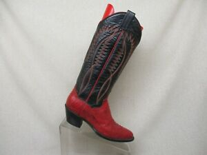 abc979d2280 Details about PANHANDLE SLIM Black Red Leather Snake Skin Tall Cowboy Boots  Womens Size 6 B