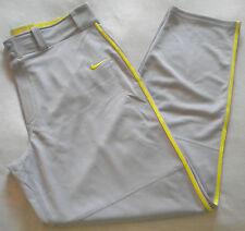 NWT $50 Men's NIKE DRI-FIT SwingMan BASEBALL PANTS Gray / Yellow XL Style 615280