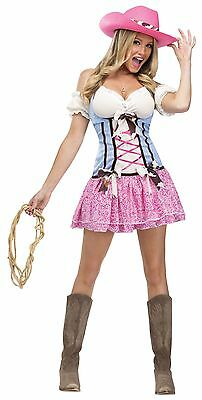 Womens Cowgirl Costume Cow Girl Rodeo Fancy Dress Pink Outfit Sexy Hat Adult New