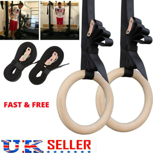 Wooden Gymnastic Olympic Rings Crossfit Gym Fitness Training Exercise 28mm
