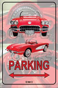 Parking-Sign-Metal-Chevrolet-Corvette-1958-Convertible-Red-06