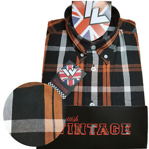Rare-Warrior-UK-England-Button-Down-Shirt-MALICE-Slim-Fit-Skinhead-Mod-Retro
