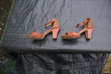 Hand Crafted Designer Heels by Gold Button Tan & Coral Leather Sandal UK6 EU39
