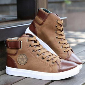 Fashion-Men-Oxfords-Casual-High-Top-Shoes-Leather-Shoes-Lace-up-Canvas-Sneakers